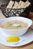 Suppe und Brot Stockbild