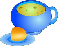 Suppe und Rolle lizenzfreie abbildung