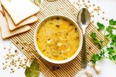 Suppe von den grünen Linsen und vom weichen Frischkäse, würzte mit einer Mischung von Pfeffern, Lorbeer, mit dem Zusatz von gesen lizenzfreie stockfotos
