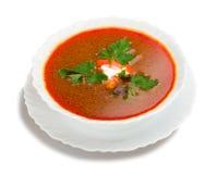 Suppe von der roten Rübe mit saurer Sahne lizenzfreie stockfotos
