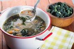 Suppe weißen Beans und des Kohls Stockbild