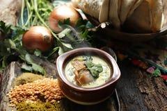 Suppe zugebereitet im Eintopfgericht lizenzfreie stockfotos