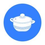 Suppentopfikone in der schwarzen Art lokalisiert auf weißem Hintergrund Küchensymbolvorrat-Vektorillustration Stockfotografie