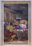 Supper at Emmaus. Fresco in the basilica of Saint Andrew in Mantua, Italy Stock Photo