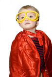 Supper hero boy. Toddler in a super hero costume on a white background stock image