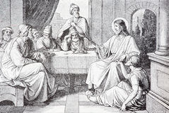 The Supper in the House of Simon Pharisee lithography Royalty Free Stock Images