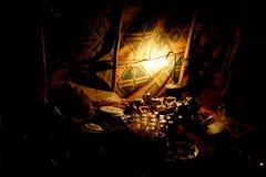 Supper in Sahara Desert. Supper in a touareg tent, Sahara Desert, Morocco, Africa Stock Photos