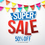 Supper sale vector design with 50% off and hanging colorful streamers. In white background for store promotions and party celebrations. Vector illustration Stock Photo