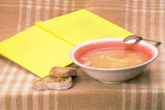 Supper set with book Stock Photos