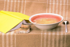 Supper set with book. Served on checkered plaid Stock Photography