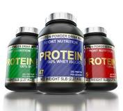 Suppléments de protéine de bodybuilding d'isolement sur le blanc Photographie stock libre de droits