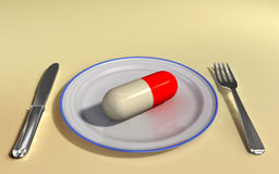 Supplement. Capsule on a plate. Digital illustration Stock Photos