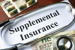Supplemental Insurance written on a paper. Royalty Free Stock Photos