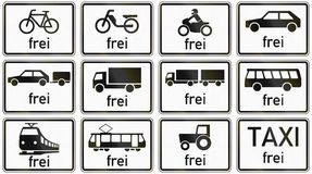 Supplemental Restriction Exceptions In Germany. Collection of German supplementary road signs regarding exceptions from restrictions for different vehicles. Frei Stock Photo
