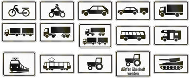 Supplemental Vehicle Types In Germany. Collection of German supplementary road signs regarding specific vehicle types Royalty Free Stock Image