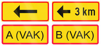 Supplementary Road Signs In Finland Stock Photos