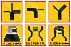 Supplementary Road Signs In Iceland. Collection of Supplementary Road Signs In Iceland Royalty Free Stock Image