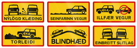 Supplementary Road Signs In Iceland Royalty Free Stock Images
