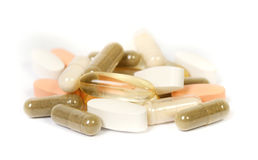 Supplementen op een witte achtergrond Stock Foto