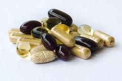Supplementen - Vitaminenmineralen, omega oliën Royalty-vrije Stock Foto's