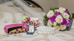 Bouquet and wedding accessories Stock Photography