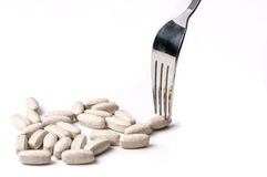 Supplements with silver tableware Royalty Free Stock Photography