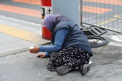 Supplica della donna a Ginevra fotografia stock