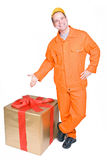Supplier and Christmas box Royalty Free Stock Photo
