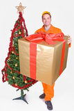 Supplier with Christmas box Stock Photo