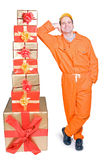 Supplier and Christmas box Stock Image