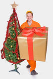 Supplier with Christmas box Stock Image