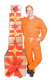 Supplier with Christmas box royalty free stock images