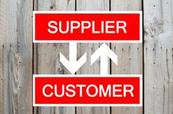 Supplier and customer cycle. On wooden background Stock Photos