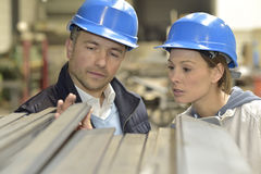 Supplier and engineer checking on production Royalty Free Stock Photography