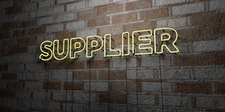 SUPPLIER - Glowing Neon Sign on stonework wall - 3D rendered royalty free stock illustration Royalty Free Stock Photo