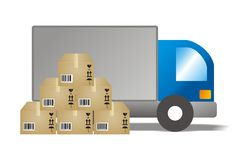 Supplier illustrations. Illustrations distribution, trucks with stacks of boxes Royalty Free Stock Image
