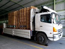 Stowage wood pallet on truck. stock photography