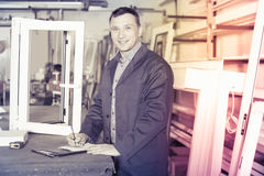 Supplier is taking order from customer. At factory Royalty Free Stock Photography