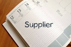 Supplier write on notebook. Supplier text concept write on notebook Royalty Free Stock Photography