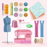 Supplies and accessories for sewing Royalty Free Stock Photography