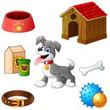 Supplies for dog cartoon Stock Photo