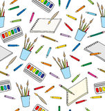 Supplies for drawing. Seamless Pattern Royalty Free Stock Photography