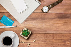 Supplies and gadgets on desk table.Online shopping concept. Stock Photography