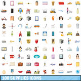 100 supplies icons set, cartoon style. 100 supplies icons set in cartoon style for any design vector illustration royalty free illustration