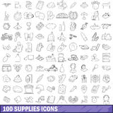 100 supplies icons set, outline style. 100 supplies icons set in outline style for any design vector illustration Stock Photo