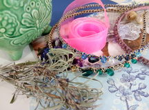 Supplies for jewelry, ribbon, beads Stock Photo