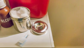 Supplies laid out for acupuncture treatment Royalty Free Stock Images