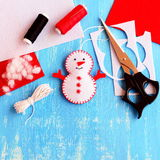 Supplies for making handmade snowman. Christmas kids crafts idea. Top view Stock Image