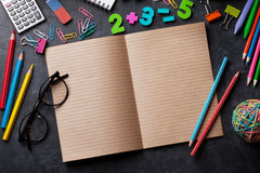 Supplies over chalk board Royalty Free Stock Image