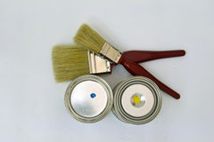 Supplies for painting. Consisting of brushes and  paints  on a white background Stock Photos